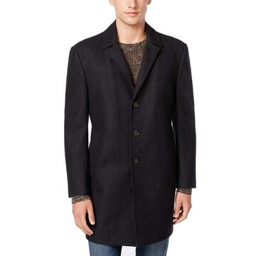 Bar III Charcoal Mens Wool Slim-Fit Button-Down Coat