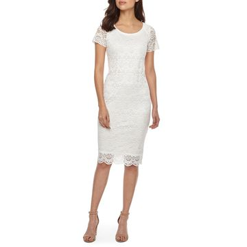 Ronni Nicole Short Sleeve Medallion Lace Sheath Dress