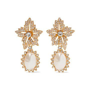Kenneth Jay Lane - Gold-plated, Crystal And Faux Pearl Clip Earrings