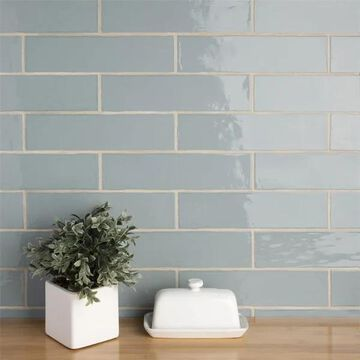 SomerTile 3x12-inch Gloucester Acqua Ceramic Wall Tile (22 tiles/5.5 sqft.)