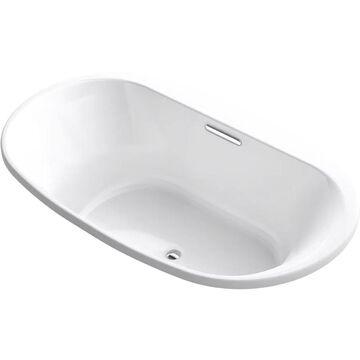 KOHLER Underscore 44.5-in W x 74.5-in L White Acrylic Oval Center Drain Drop-In Soaking Bathtub   5717-0