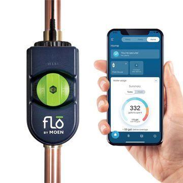 Moen Flo by Moen 1-1/4-in to 1-1/2-in Indoor/Outdoor Smart Water Leak Detector with Automatic Shut-Off Valve   900-002