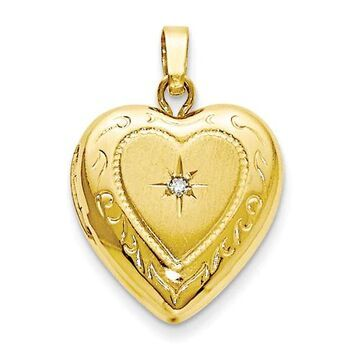 14K Yellow Gold High Polished 13mm Heart Locket Charm by Versil