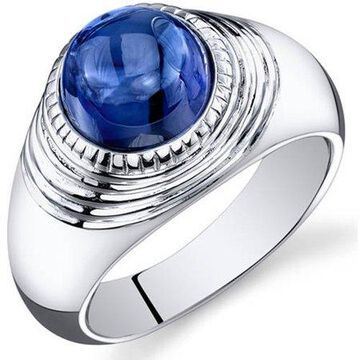 6.50 Carat T.G.W. Men's Created Blue Sapphire Rhodium-Plated Sterling Silver Engagement Ring