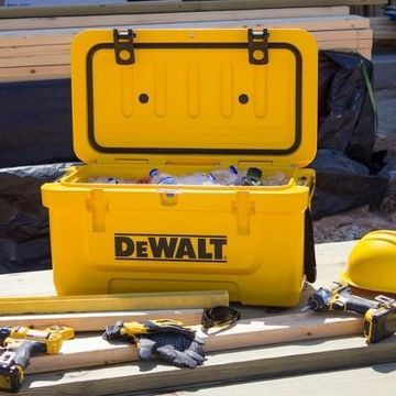 Dewalt 45 Quart Roto Molded Insulated Lunch Box Portable Drink Cooler, Yellow