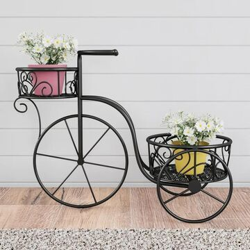 Tricycle Plant Stand- 2-Tiered Decorative Vintage-Look Metal Display for Patio, Deck, Home or Lawn by Pure Garden - 2-Tier (Matte Black)