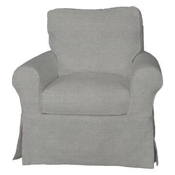 Slipcovered Swivel Rocking Chair Performance Fabric Gray