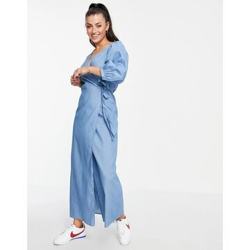 Vila v neck denim wrap dress with puff sleeve in blue-Blues