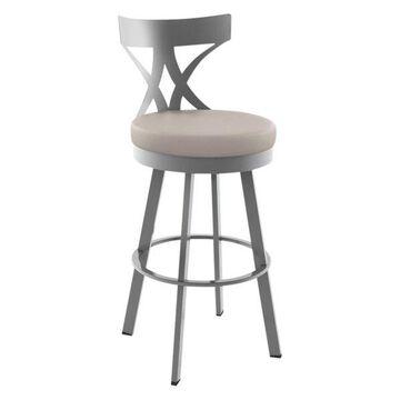 Washington Swivel Stool, Base: Glossy Gray, Bar Height, Seat: Beige