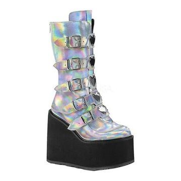 Demonia Women's Swing 230 Platform Mid-Calf Boot Silver Hologram Vegan Leather