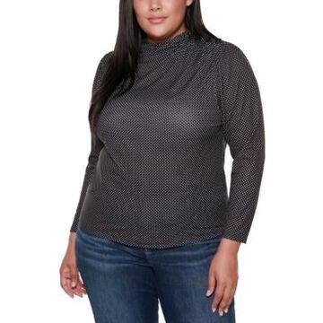 Belldini Black Label Plus Size Polka Dot Mock Neck Long Sleeve Top
