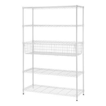 Mainstays 5 Tier Wire Shelving Rack with Basket Shelf