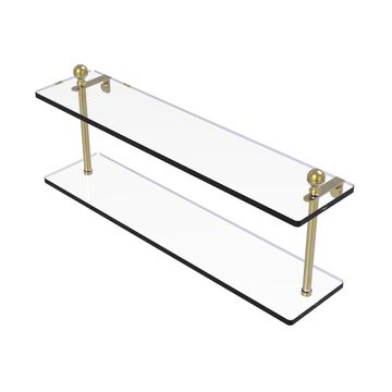 MA-2-22-SBR Mambo Collection 22 in. Two Tiered Glass Shelf, Satin Brass