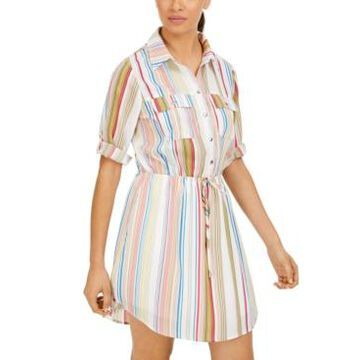 Be Bop Juniors' Striped Drawstring Utility Shirtdress