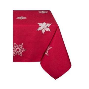 "Xia Home Fashions Glisten Snowflake Embroidered Christmas Tablecloth, 70"" x 144"""