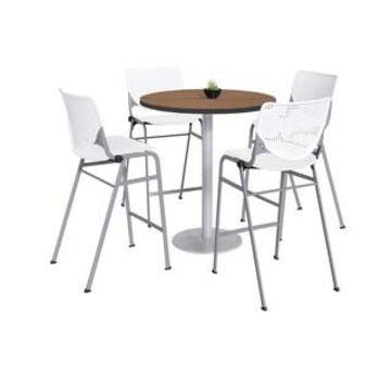 KFI Mode Bistro Table Set, River Cherry Top, 4 Kool Stools (White)