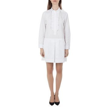 See by Chloe White Cotton Pleated Trim Shirt Dress S