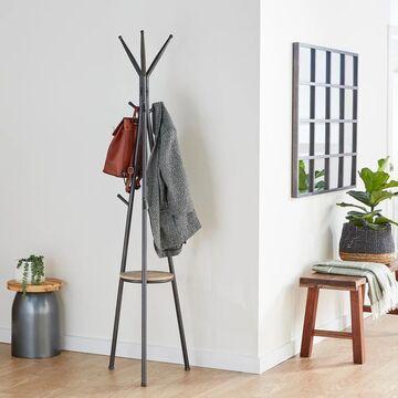 Modern 72 x 17 Inch Iron and Wood Tripod Coat Rack by Studio 350