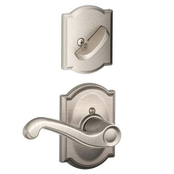 Schlage F59-FLA-CAM-RH Flair Right Handed Single Cylinder Interior Pack with Decorative Camelot Trim - Exterior Handleset Sold Separately Satin Nickel