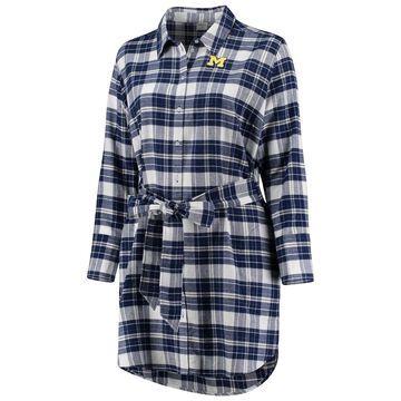 Michigan Wolverines ZooZatz Women's Plus Size Warmup Flannel Button-Up Dress - Navy