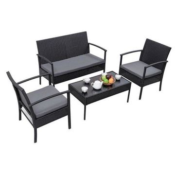 Costway 4 PCS Outdoor Patio Rattan Furniture Set Table Sofa Cushioned Deck