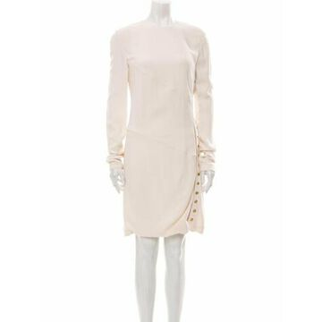 Crew Neck Knee-Length Dress White