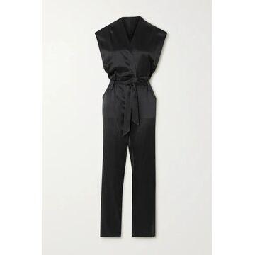 RtA - Cynthia Belted Wrap-effect Silk-satin Jumpsuit - Black