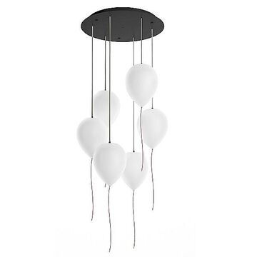 Estiluz Balloon Multi-Light Pendant Light - Color: White - Size: 6 light - 113415264_6x030527402
