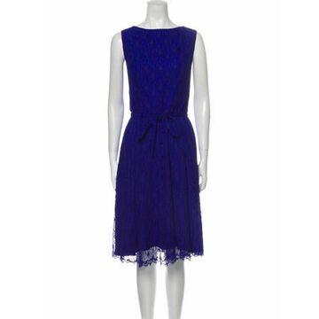 Bateau Neckline Midi Length Dress Blue