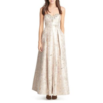 Eliza J Womens Metallic Strapless Formal Dress