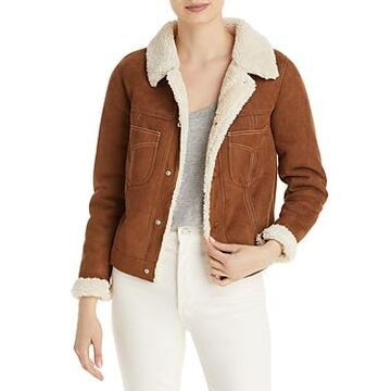 Mother The Curved Pocket Faux Shearling Aviator Jacket