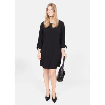Violeta BY MANGO - Contrast edge bow dress black - 10 - Plus sizes