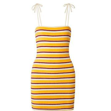Solid & Striped - Striped Cotton-blend Terry Mini Dress - Yellow