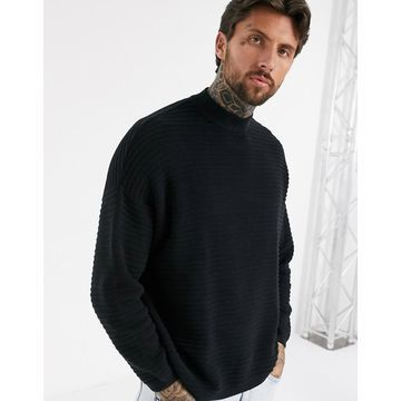 Bershka ribbed sweater with high neck in black