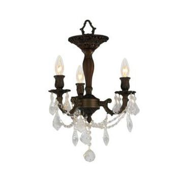 Worldwide Lighting Windsor 3-Light Dark Bronze Finish and Clear Crystal Semi Flush Mount Ceiling Light