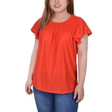 Ny Collection Plus Size Short Flutter Sleeve Blouse with Smocked Front Yoke