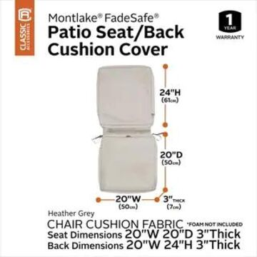 Classic Accessories Montlake Water-Resistant 44 x 20 x 3 Inch Patio Chair Cushion Cover, Antique Beige