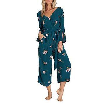 Billabong Crossover-Back Floral Jumpsuit