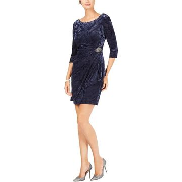 Alex Evenings Womens Petites Cocktail Dress Velvet Burnout