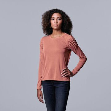 Women's Simply Vera Vera Wang Ruched Long Sleeve Tee, Size: Large, Med Pink