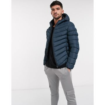 Brave Soul hooded padded jacket in navy