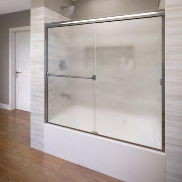 Basco Classic 56-in to 60-in W Semi-frameless Polished chrome Bypass/Sliding Bathtub Door