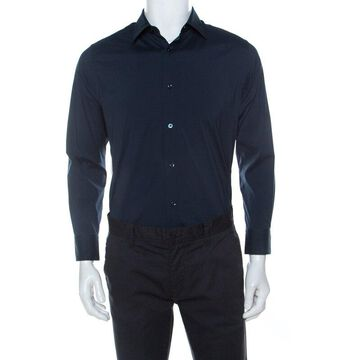 Z Zegna Navy Blue Stretch Cotton Button Front Shirt L