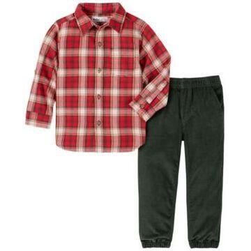 Kids Headquarters Baby Boys Plaid Woven Shirt Twill Jogger Pant Set