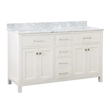 Sunjoy White 60 in. Shaker Style Double Sink Bathroom Vanity (59-61 in. - Over 34 Inches - 6 or More Drawers - Double - Polished - Adjustable