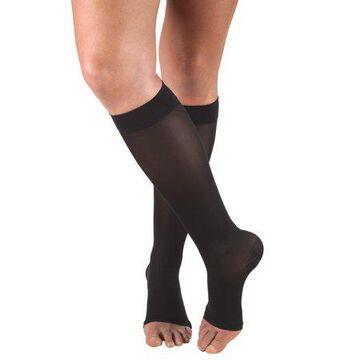 Truform Women's Stockings, Knee High, Open Toe: 20-30 mmHg, Black, Large