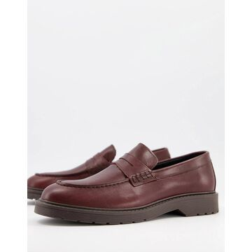 Selected Homme leather penny loafers with chunky sole in burgundy-Red