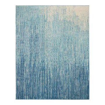 Nourison Passion Striped Rug, Blue, 2X6 Ft