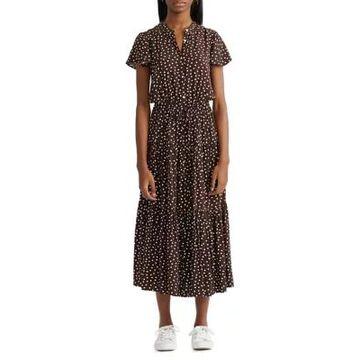 Chaps Women's Tiered Flutter Sleeve Dress -