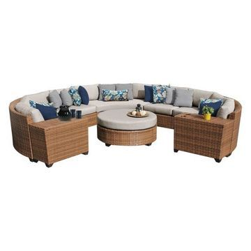 TK Classics Laguna 8-Piece Outdoor Wicker Sofa Set, Beige